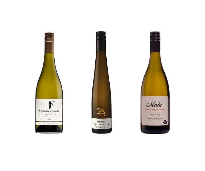 From left to right: Summerhouse Marlborough Pinot Gris 2014, $16. Brancott Estate 'B' Marlborough Late Harvest Sauvignon Blanc 2014, $20. Mahi 'Twin Valleys' Marlborough Chardonnay 2014, $28.