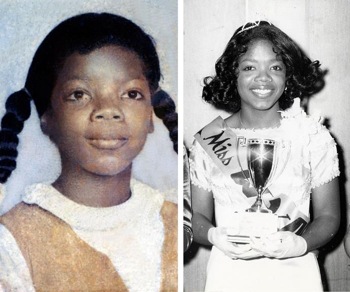 Left: Oprah as a young girl and as the winner of a beauty pageant in 1971, at a time when she felt she had to take charge of her destiny.