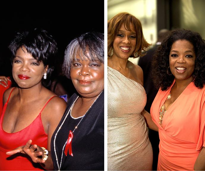 Left: Oprah and her mother Vernita Lee walk the red carpet. Right: Oprah and best friend Gayle King.