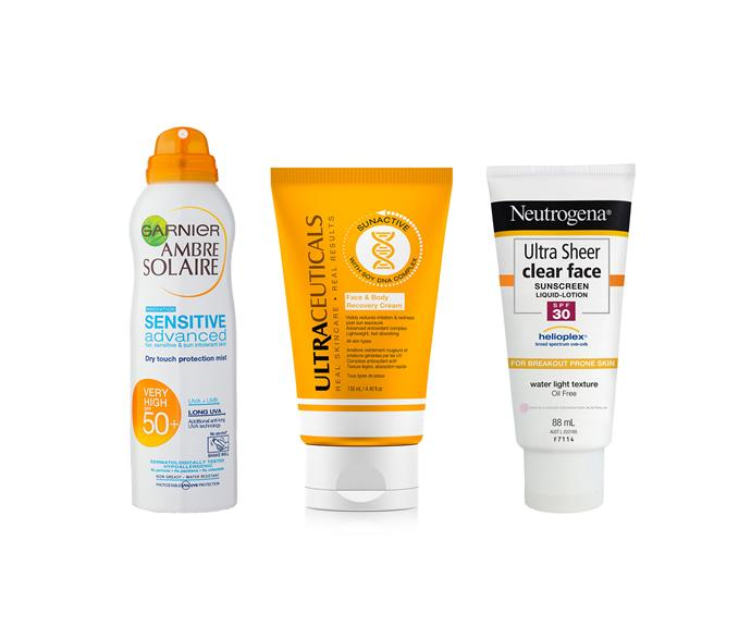 7.Sensitive skin; Garnier Ambre Solaire Sensitive Advanced Dry Touch Protection Mist SPF50+. 8. After-sun care; Ultraceuticals Face and Body Recovery Cream. 9. Oily skin; Neutrogena Ultra Sheer Clear Face Sunscreen SPF30.