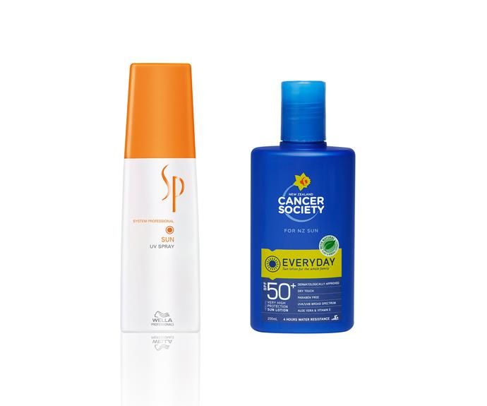 10.Hair protection; Wella SP Sun UV Spray. 11. Everyday protection; NZ Cancer Society SPF50+ Everyday Lotion.