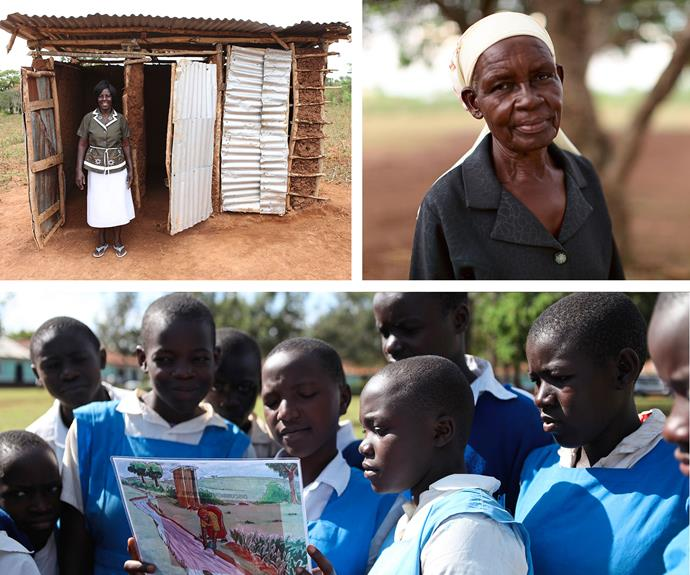 Clockwise from far left: Alice Ndolo and her latrine; Magdaline Amolo Aloo; students learn about hygiene.