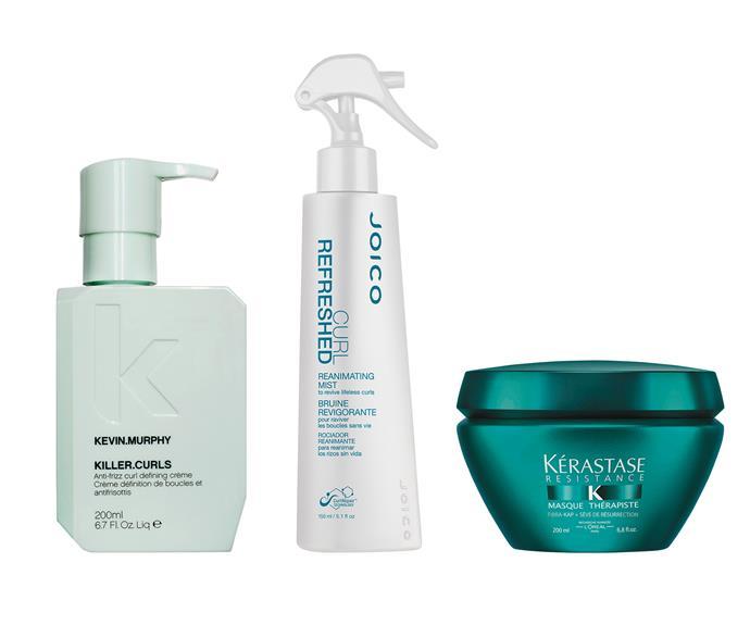 From left to right: Kevin Murphy Killer Curls, $70, Joico Curl Refreshed Reanimating Mist, $34, Kérastase Résistance Masque Thérapiste, $67.