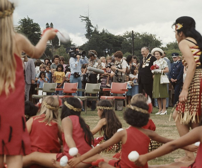 Queen Elizabeth watches a kapa haka group perform in 1977.