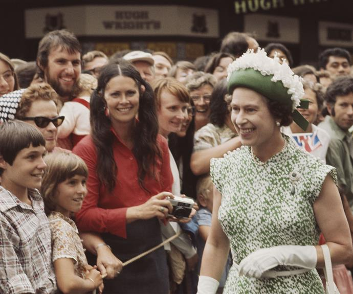 Queen Elizabeth greets a doting crowd in 1977.