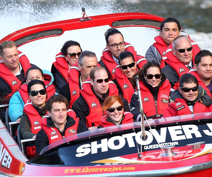 The Duke and Duchess of Cambridge get an adrenaline fix on the Shotover Jet last year.