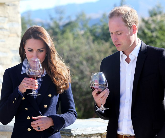 Kate and Wills try some red wine at a winery in Queenstown in 2014.