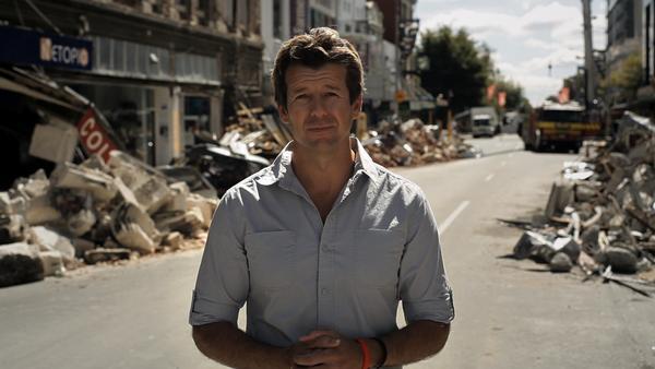 Simon Barnett reporting on Christchurch earthquake