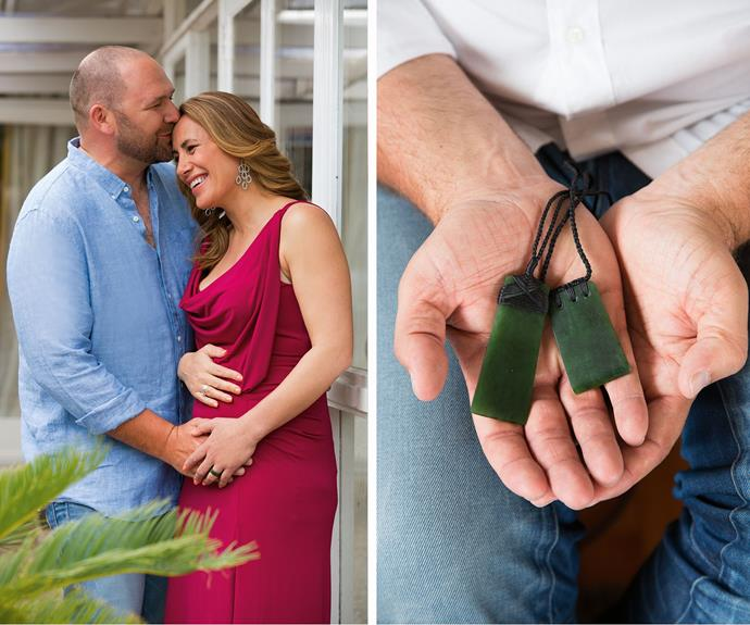 Left: Dean has been with Jenny-May for every doctor's appointment. Right: The pounamu for the twins.