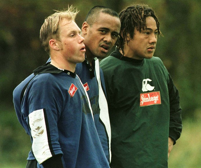 With teammates Jeff Wilson and Tana Umaga in Dublin in 1997.