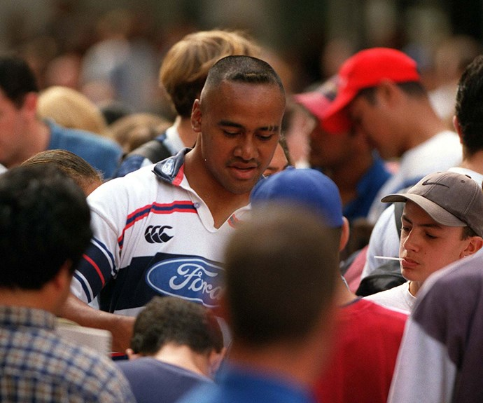 Swamped by autograph hunters in Auckland with the Blues in 1998.