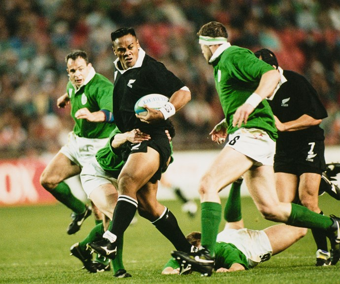 Jonah powers through the Irish defence during a Rugby World Cup pool match in South Africa in 1995.