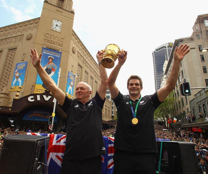 Raising the Web Ellis Cup in front of a huge crowd in Auckland in 2011.