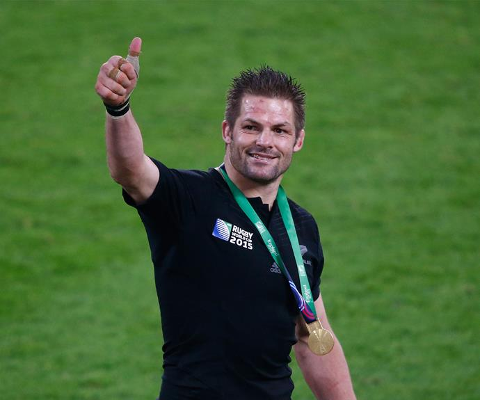 With his 2015 Rugby World Cup gold medal.
