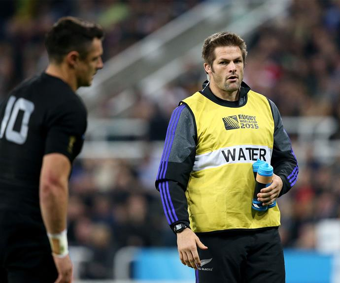 Playing water boy at the 2015 Rugby World Cup.