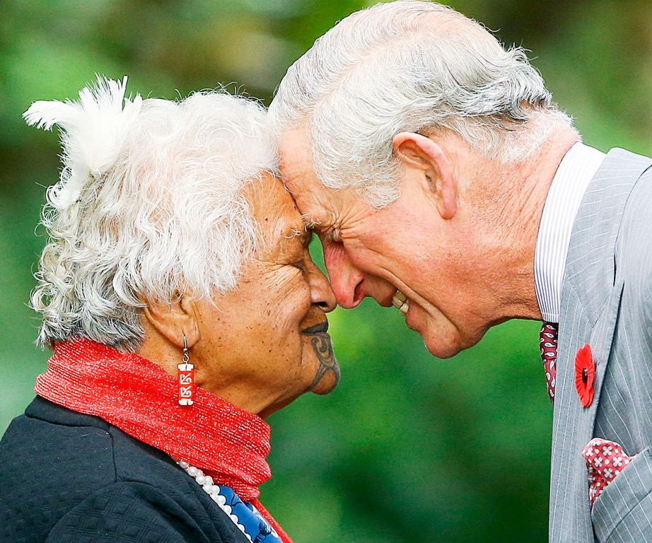 Prince Charles is greeted with a hongi in Taranaki. *(Image: Getty)*