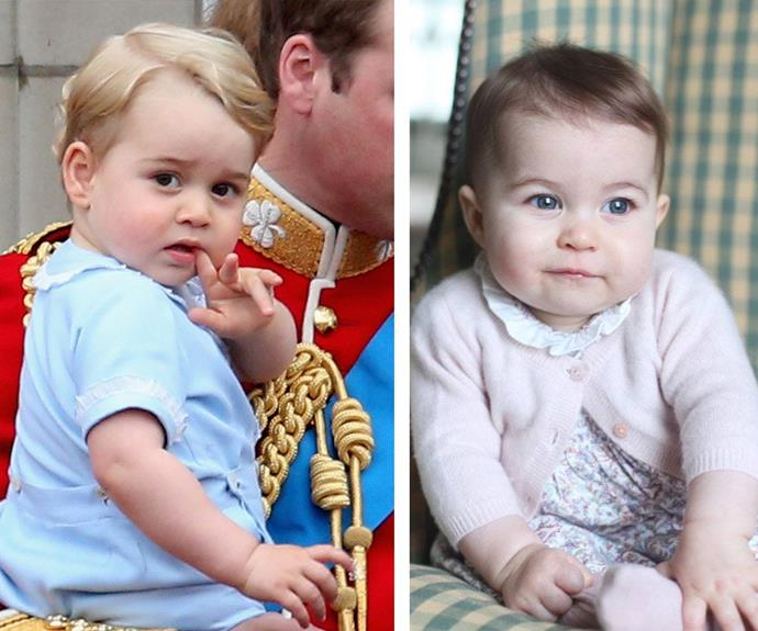 There's no doubt Charlotte has similar features to her two-year-old brother, Prince George! The pair share the same bow lips, chubby cheeks and button noses however the two-year-old has much lighter hair than his little sis.