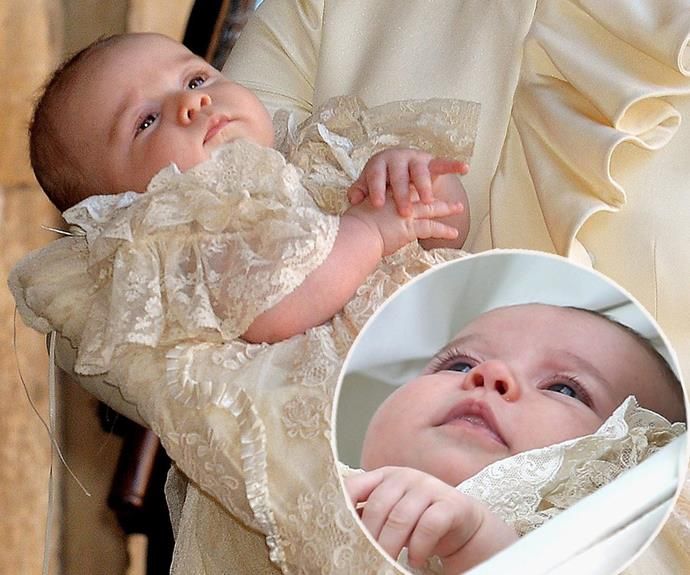Earlier in the year at Charlotte's July christening, it was hard to tell George (main, pictured at his 2013 christening) and her (inset) apart!