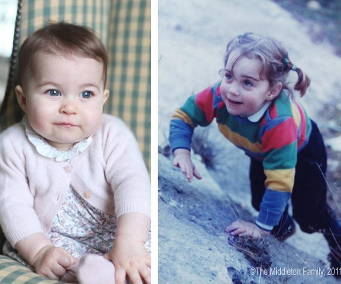 It looks like the six-month-old has mum Catherine's (right) brunette hair and big, doe eyes.