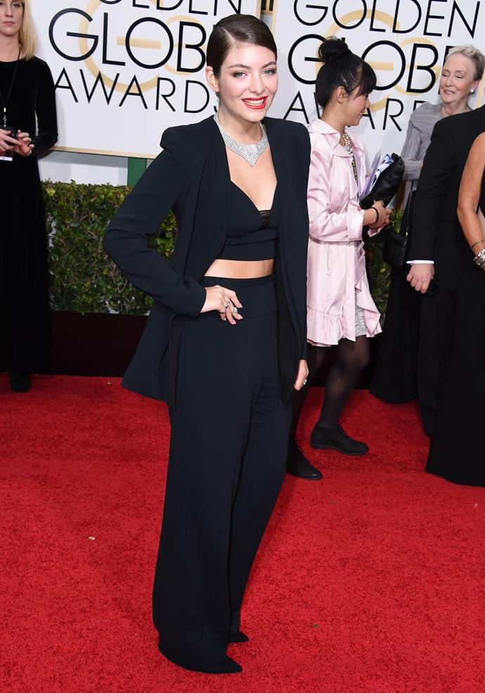 Lorde wore the pants to the 2015 Golden Globe Awards.