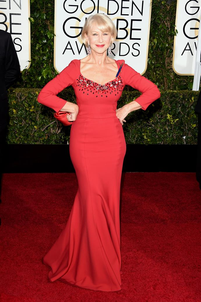 Helen Mirren was red-y for the carpet at the 2015 awards.