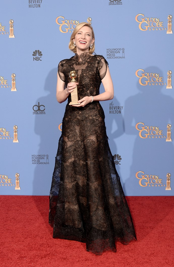 Cate Blanchett wowed in lace at the 71st Annual Golden Globe Awards in 2014. She also won Best Actress that year.