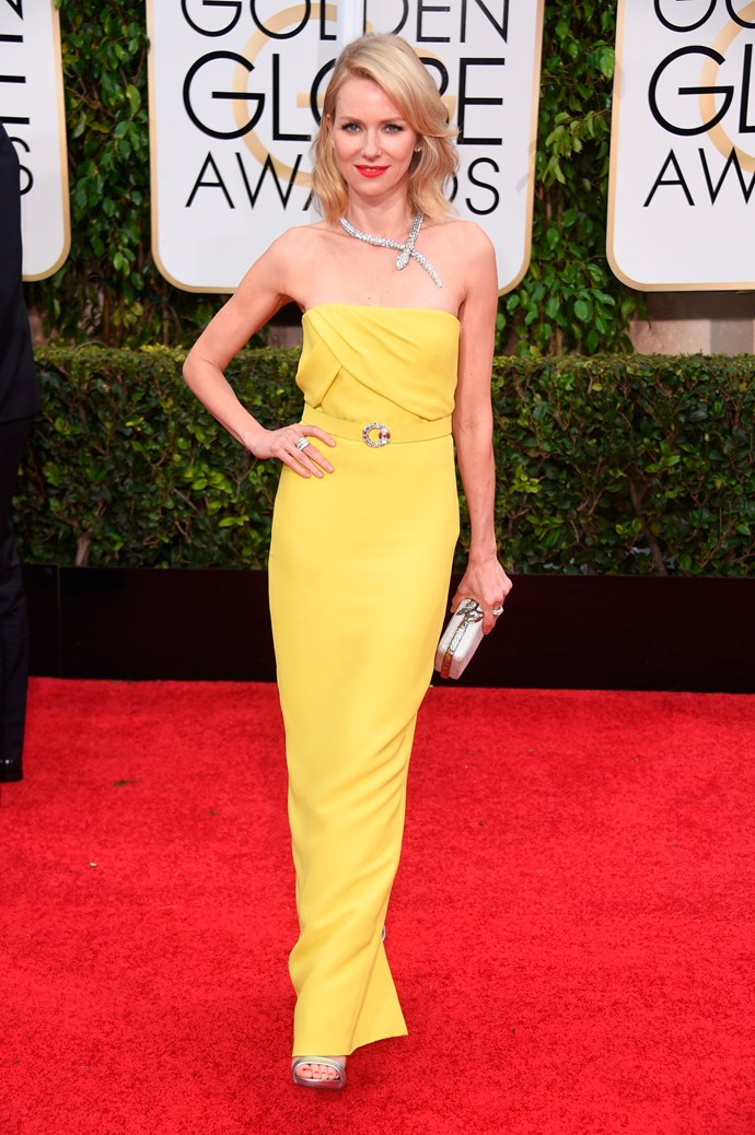It's not often that we see yellow on the red carpet but Naomi Watts really pulled it off in 2015.