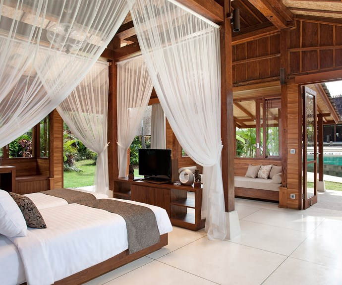 A breezy Balinese-style bedroom suite.
