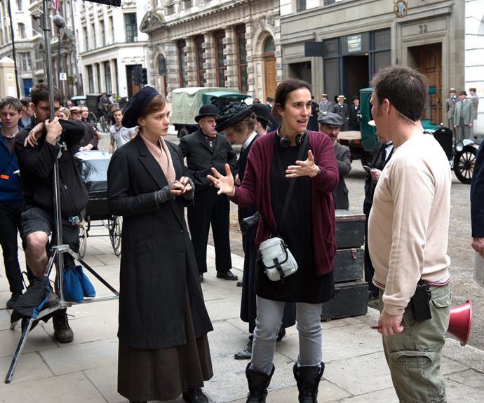 Gavron filming with Carey Mulligan.