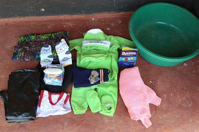 **Hazel Shandumba, 27, Zambia:** Baby blanket, cotton wool, sarong, baby suit, napkins, dish and polythene roll.