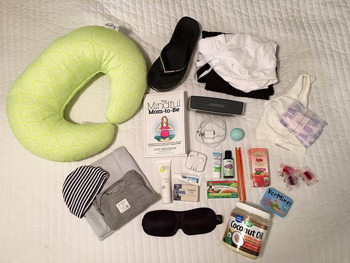 **Deanna Neiers, New York, USA:** Music player, coconut oil, lavender oil, arnica gel, snacks, nursing bra and pads, nursing pillow, clothes, swaddle, onesie, hat.