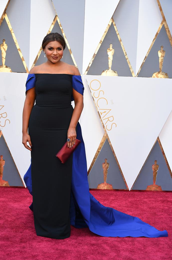 Mindy Kailing arrives at the 88th annual Academy Awards. Her film, *Inside Out* is nominated for Best Animated Film.