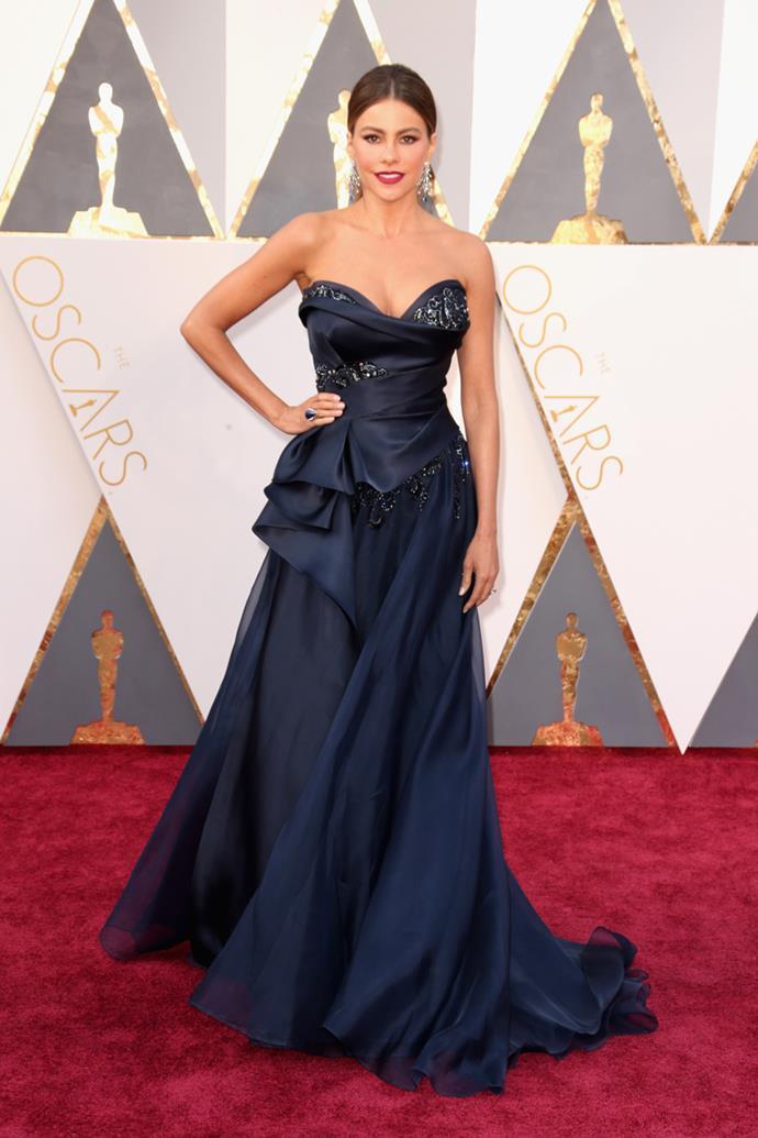 Sofia Vergara arrives at the 88th annual Academy Awards.