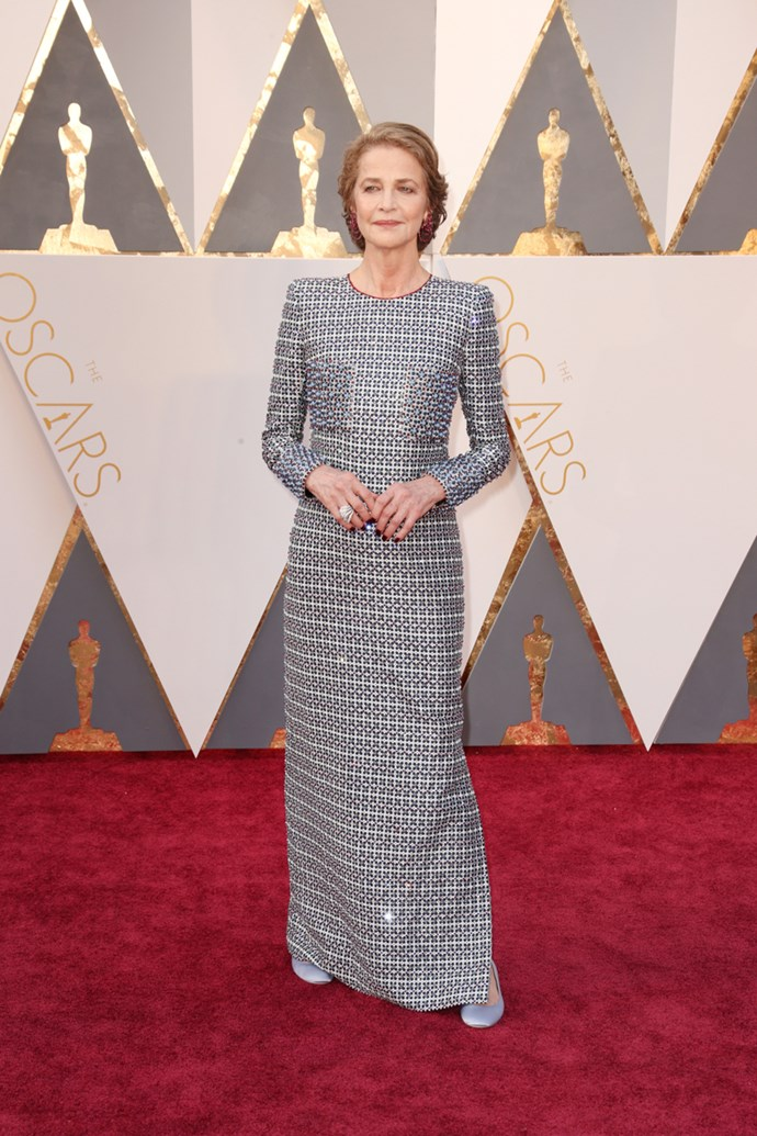 Charlotte Rampling arrives at the 88th annual Academy Awards.
