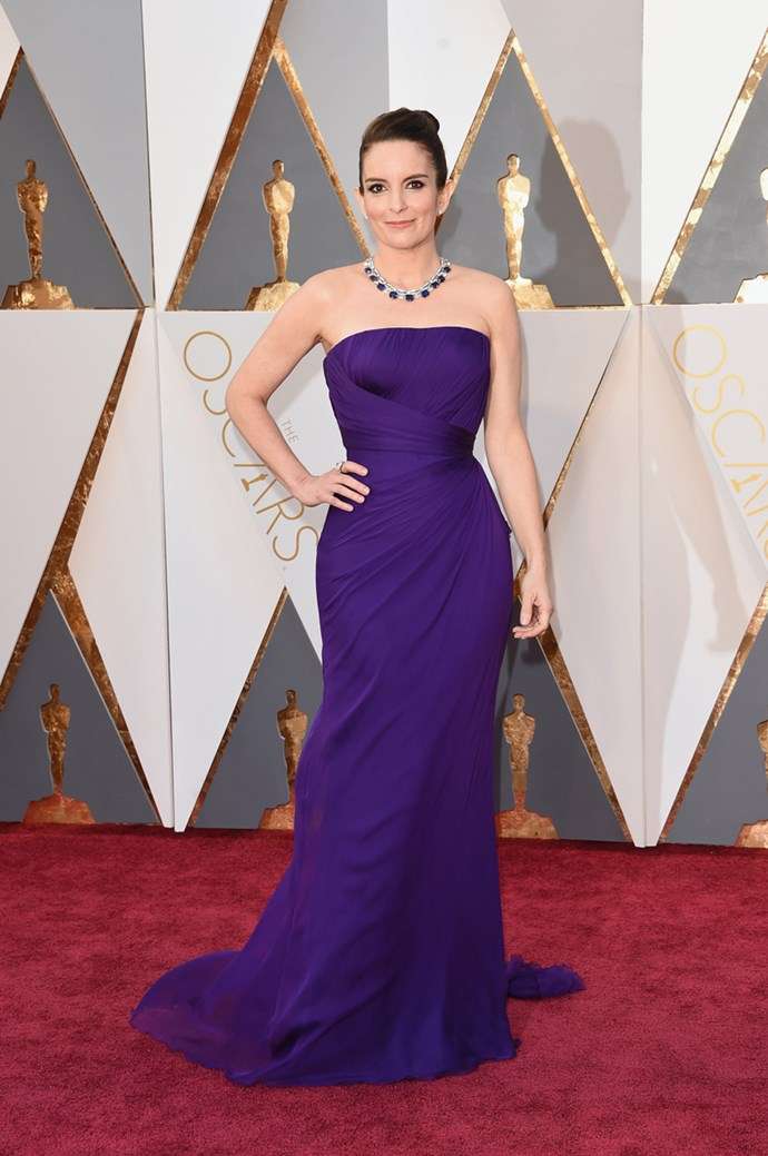 Tina Fey arrives at the 88th annual Academy Awards.