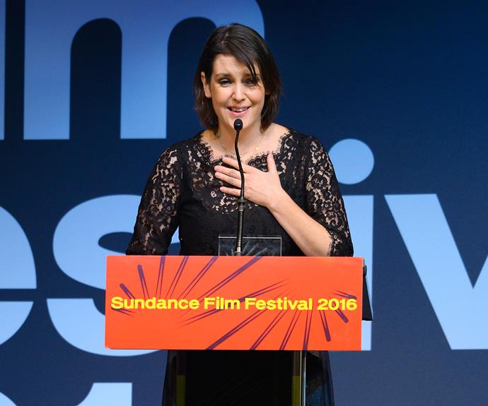 Melanie accepting the US Dramatic Special Jury Award for Individual Performance for The Intervention at the 2016 Sundance Film Festival.