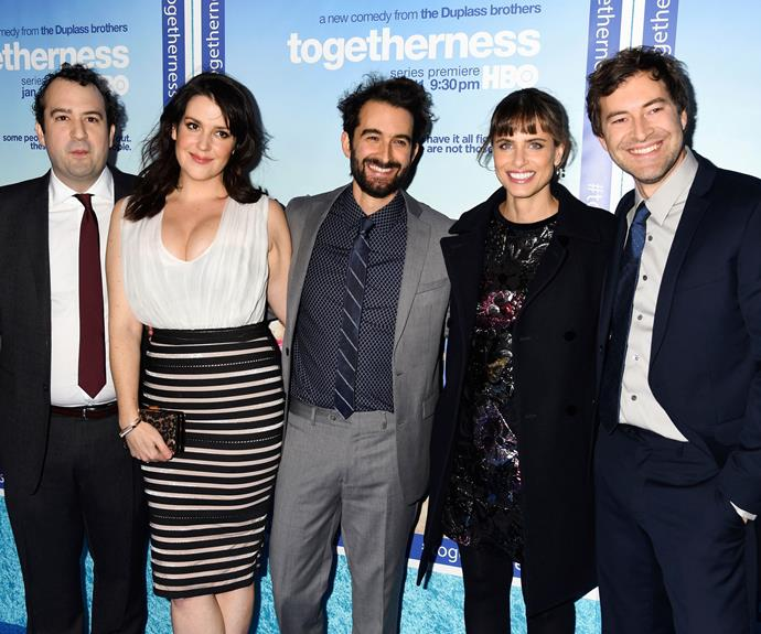 At the *Togetherness* premiere in Hollywood, 2015, with (from left): Co-creator Steve Zissis, writer Jay Duplass, actress Amanda Peet and writer Mark Duplass.