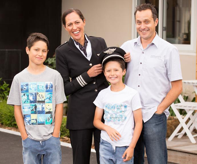 Her boys, Nikau (left) and Tai, and husband Anton, an air traffic controller, help keep the high-flier grounded.