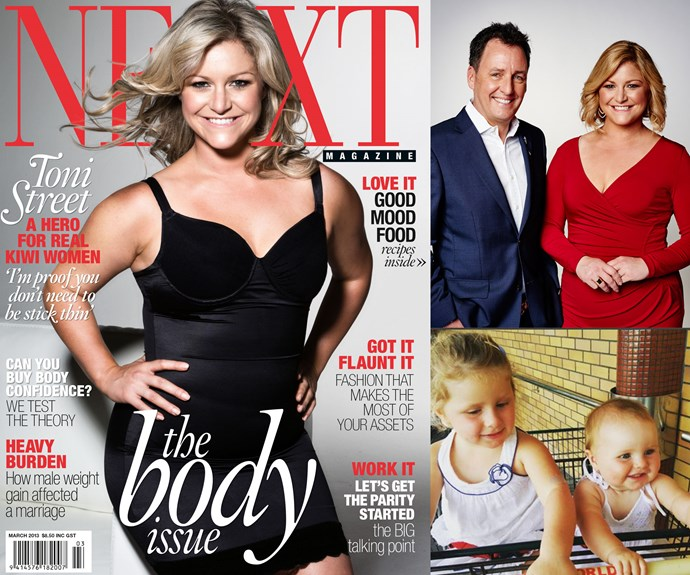 Toni Street on the cover of the 2013 NEXT Body Issue; with *Seven Sharp* co-host Mike Hosking; and her daughters Juliette and Mackenzie.