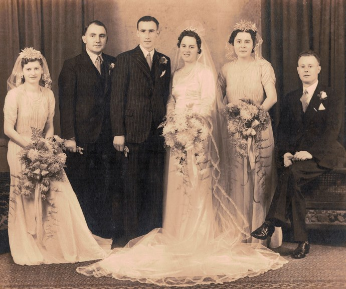 Jean was a bridesmaid (far left) when Edna married in 1940.
