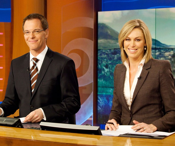 The news set may have changed, but the TV anchors, pictured in 2010, look like they have barely aged over the years.