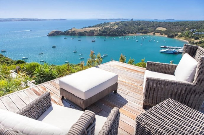 "**Church Bay estate, Waiheke island** ""Church Bay Estate is a stunning, sophisticated, yet casual luxury holiday home, located at Church Bay Estate , just 4 kms for Oneroa Village, and only 700 meters to the famous Cable Bay Vineyard, which could become your local...Complete with heated swimming pool, spa and inspiring views."" [See the full ad here](https://www.airbnb.co.nz/rooms/11678461?guests=5&s=qE3ESzqn)"