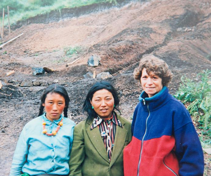 Ann with two Tibetan women she met in 1992.