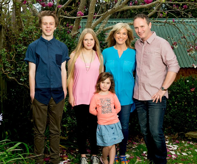 The radio star with her family (from left): Max, Lucy, Zoe and husband Steve.