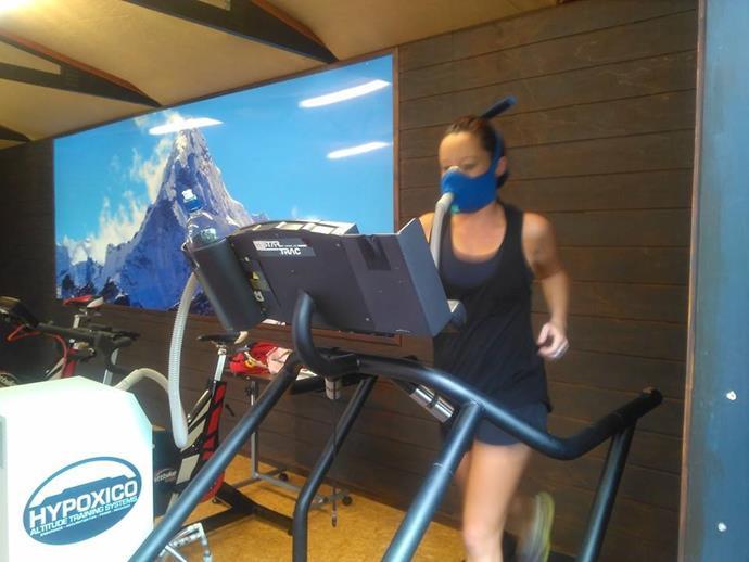 Mel doing altitude training