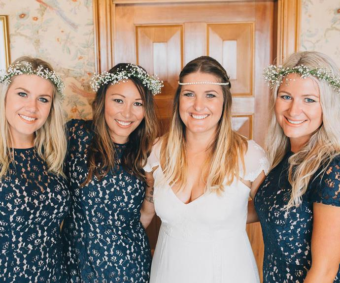 Wedding belles: Melissa with (from left): Sheridan, bride Annaliese and Danielle.
