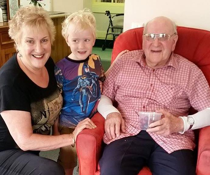 The doting gran with her grandson William and dad Bill.