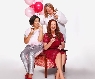 Jackie Clarke, Urzila Carlson and Jacquie Nairn think pink for breast cancer