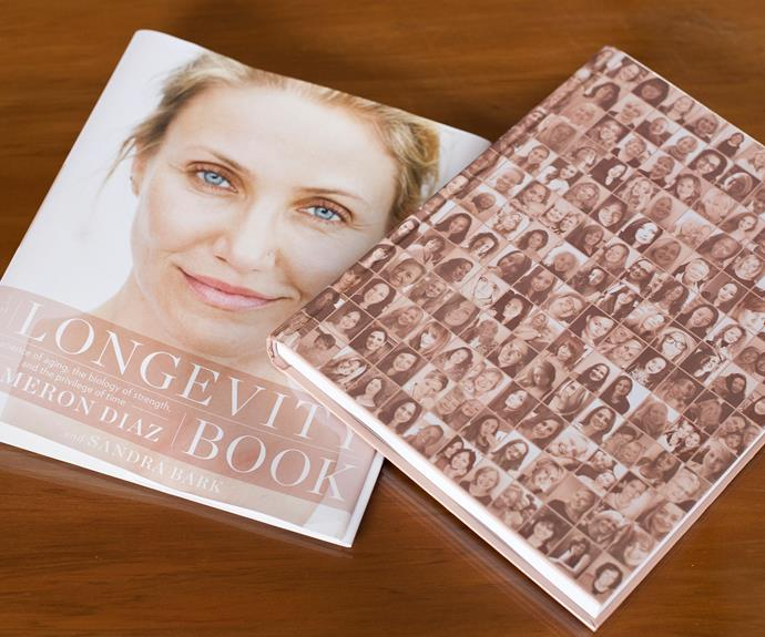 Cameron Diaz's book, *The Longevity Book*, with Rose's selfie among the others.
