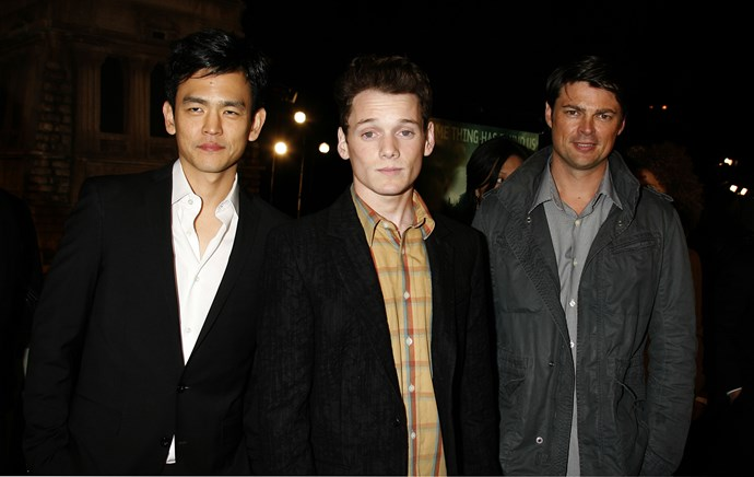 Anton Yelchin (centre) pictured with Star Trek co-stars John Cho (r) and Karl Urban (l)